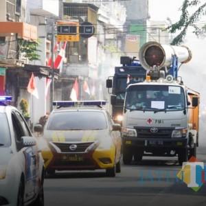Selama 2 Hari, Sejumlah Ruas Jalan di Kota Mojokerto Disemprot Disinfektan