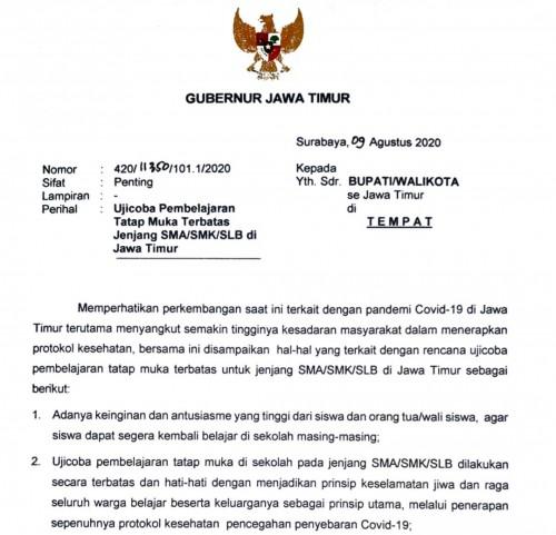 Surat Gubernur Jawa Timur Khofifah Indar Parawansa. (Foto: istimewa)