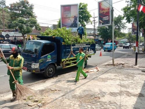 Petugas DLH Kota Malang yang membersihkan dan memasukkan pangkasan dahan pohon kedalam bak truk (Ist)