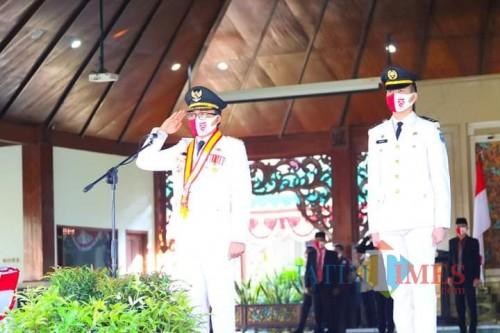Bupati Pamekasaan saat memimpin upacara HUT RI di Pendopo Ronggo Sukowati Pamekasan