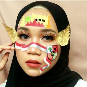 Bikin Art Make-up Merah Putih, Cara Beauty Vlogger Destry Angryana Rayakan HUT ke-75 RI