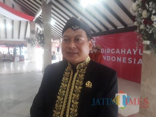 Ketua DPRD Kabupaten Malang, Didik Gatot Subroto saat ditemui awak media di Pendopo Agung Kabupaten Malang, Senin (17/8/2020). (Foto: Tubagus Achmad/MalangTimes)
