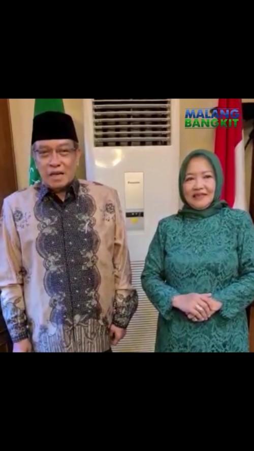 Said Aqil Siradj saat memberikan dukungannya terhadap Bapaslon Lathifah Shohib-Didik Budi Muljono. (Foto: Screenshots video Malang Bangkit)