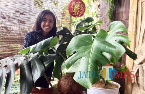 Pedagang saat menunjukkan tanaman monstera di Kelurahan Temas, Kecamatan Batu. (Foto: Irsya Richa/MalangTIMES)