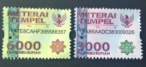 Meterai Rp 3000 dan Rp 6000 (Foto:  hukum)
