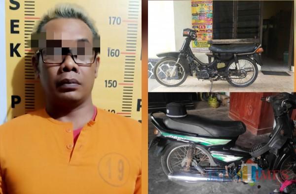 Tersangka Mugianto dan dua motor jadul sebagai barang bukti / Foto : Dokpol / Tulungagung TIMES