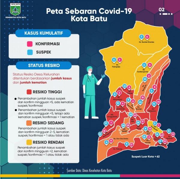 Peta sebaran Covid-19 di Kota Batu. (Foto: Pemkot Batu)