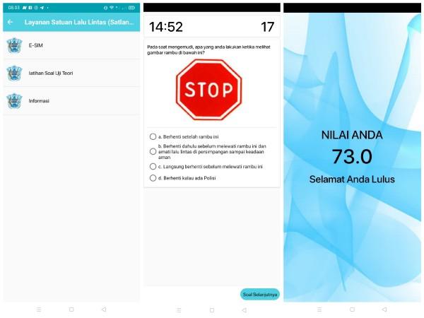 Gambar menu latihan soal uji teori dalam aplikasi Jogo Malang (Anggara Sudiongko/MalangTIMES)