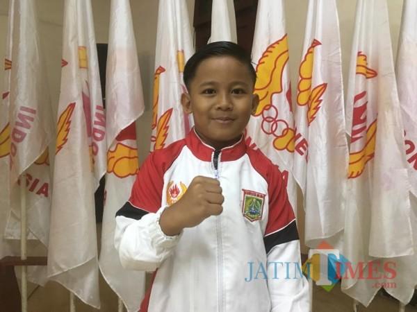 Gian Aditya Ardhani salah satu atlit senam andalan Kabupaten Malang (Foto : Ashaq Lupito / MalangTIMES)