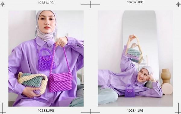 Gaya hijabers Inas Rana saat mengenakan busana ungu lilac. (Foto: Instagram @inasrana).