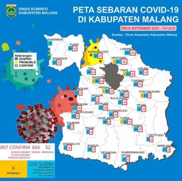Peta sebaran kasus covid-19 di Kabupaten Malang pada periode 8 September 2020 (Foto: Istimewa)