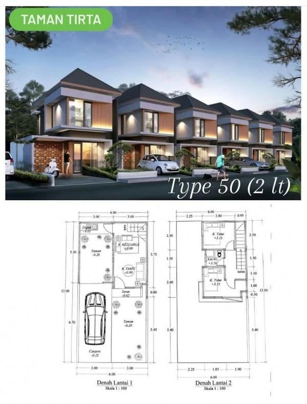 Rumah tipe 50 (2 lantai) di Taman Tirta Karangploso. (Foto: istimewa)