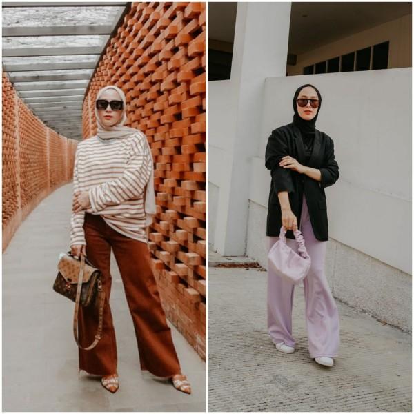 Stylish, Hijabers Cantik Dewi Fitri Handayani Punya 5 Paduan Busana Pakai Bawahan Kulot