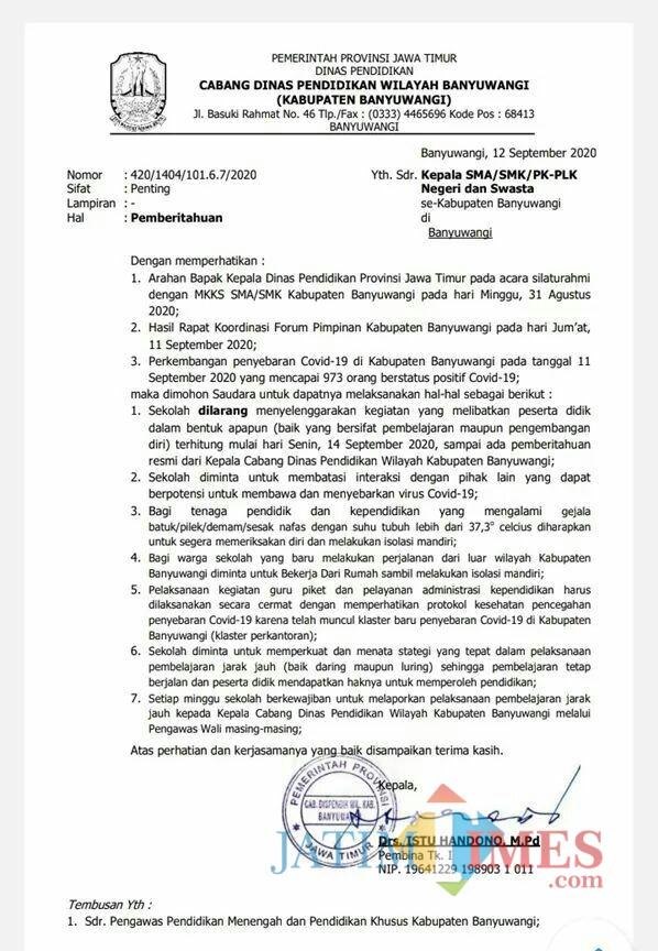 Dispendik Jatim Larang KBM di Sekolah