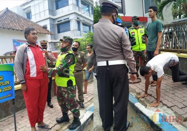 Pelanggar prokes di jalan di sanksi menghafal pancasila dan Push Up / Foto : Anang Basso / Tulungagung TIMES