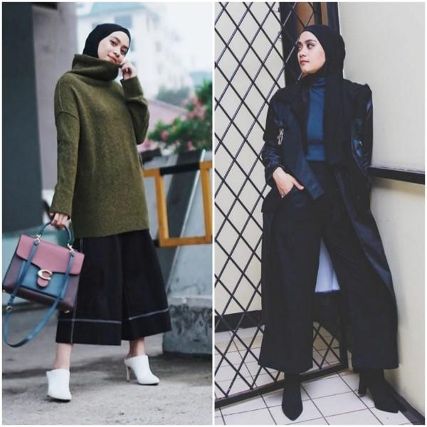 Inspirasi outfit hijab dengan turtleneck. (Foto: Instagram @ayudiac).