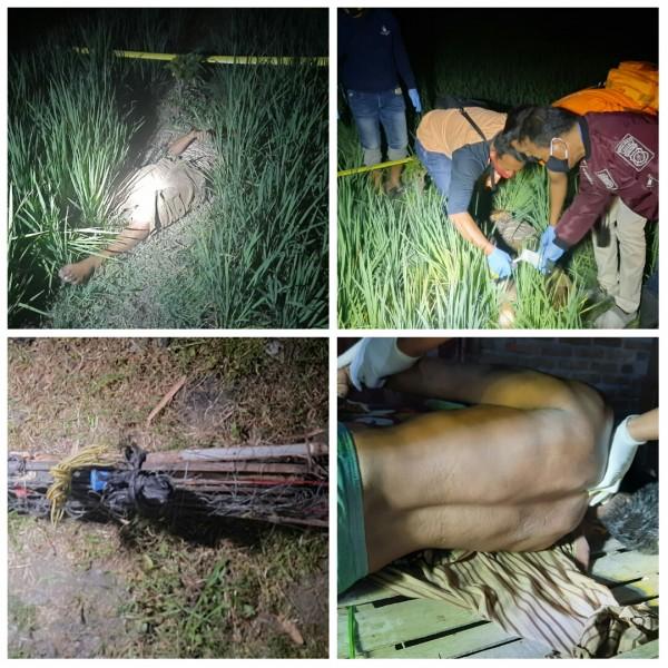 Evakuasi korban yang tewas karena jebakan tikus beraliran listrik di Desa Babadan Kecamatan Pangkur Kabupaten Ngawi.