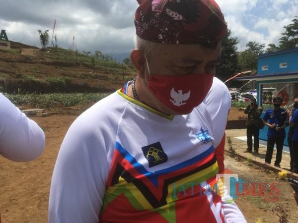 Bupati Malang HM Sanusi saat menjawab rancangan pengembangan lapas yang digagas Menkumham (Foto : Ashaq Lupito / MalangTIMES)
