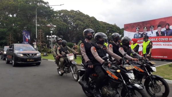 Tim Mobile Covid Hunter resmi dilaunching di halaman Balai Kota Malang untuk menindak pelanggar Protokol Covid-19, Rabu (16/9).