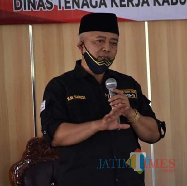 Bupati Malang HM Sanusi saat menjelaskan keputusan pengurangan pokok ketetapan PBB-P2 tahun 2020 (Foto : Istimewa)