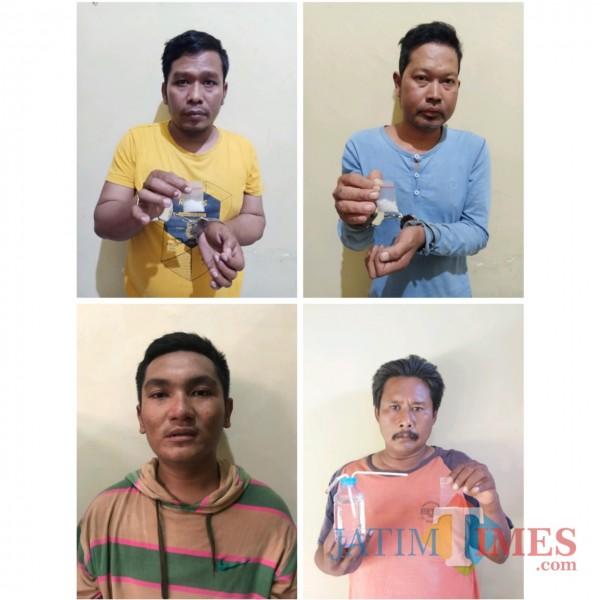 Keempat pelaku penyalahgunaan narkoba jenis sabu-sabu diamankan Polres Sumenep. (Foto: Humas Polres Sumenep for JatimTIMES)