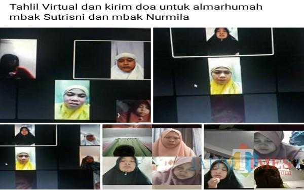 Para TKW menggelar tahlil virtual untuk temannya yang meninggal dunia di perantauan / Foto : Istimewa / Tulungagung TIMES
