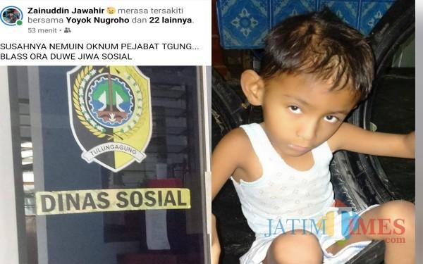 Postingan Kades Banjarejo dan Anak yang harus di tolongnya / Foto : Istimewa / Tulungagung TIMES