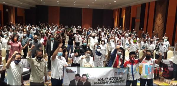 Dukungan Partai Perindo ke pasangan Machfud-Mujiaman.