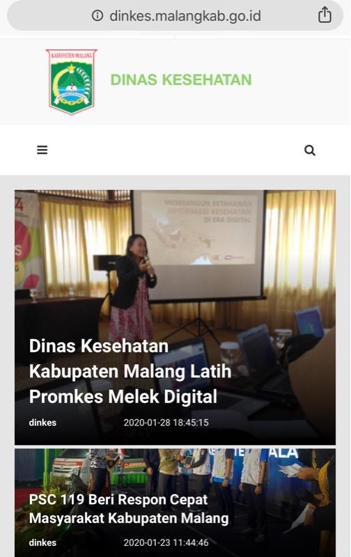 Tampilan utama saat mengakses website milik Dinkes Kabupaten Malang paska mengalami peretasan (Foto : Istimewa)