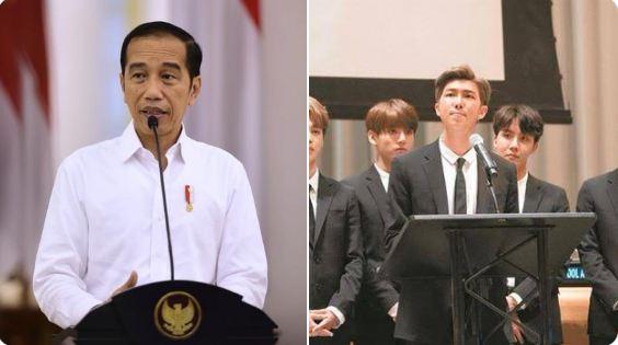 Jokowi dan BTS (Foto: Twitter @ARMYTEAMIDN)