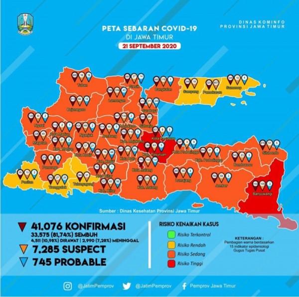 Peta sebaran kasus covid-19 di Jawa Timur periode 21 September 2020 (Foto : Istimewa)