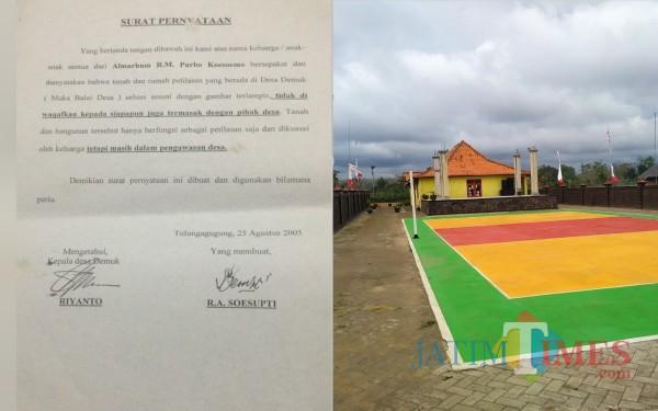 Surat pernyataan tahun 2005 dan lapangan di Petilasan ( Anang Basso / Tulungagung TIMES)