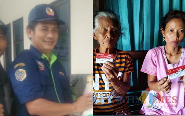 TKSK Rejotangan, Bambang Hermanto dan 2 KPM desa Sumberagung yang dipersulit ambil bansos / Foto : Anang Basso / Tulungagung TIMES