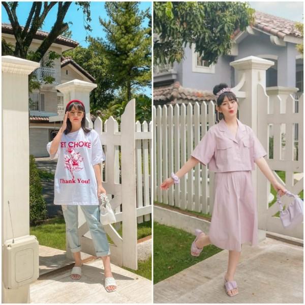 Korean look style ala Vanessa Andrea. (Foto: Instagram @cherrydreamy).