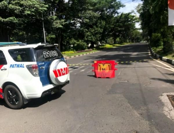 Akses Jalan Veteran, Kota Malang yang sempat ditutup pada bulan April 2020 lalu. (Foto: Istimewa).