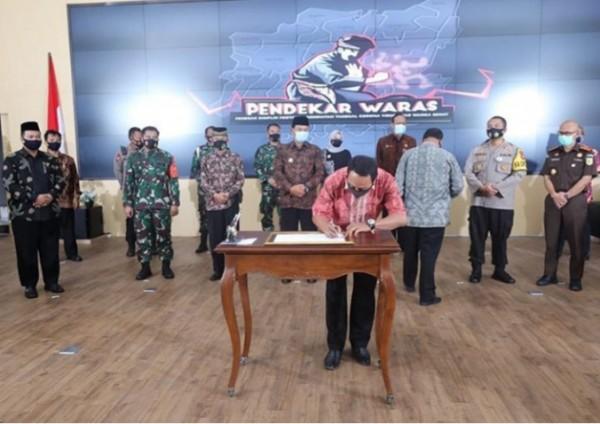 Penandatanganan Ikrar Damai Forkopimda bersama 14 Perguruan.