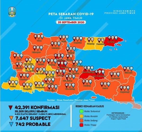 Peta sebaran kasus Covid-19 di Kabupaten Malang (Foto : Instagram Pemprov Jatim)