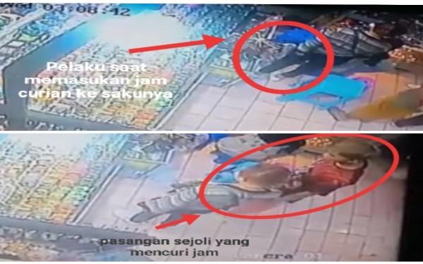 Pasangan Sejoli Terekam CCTV Curi 4 Jam Tangan, Pelaku Wanita Punya Tatto di Lengan Kiri