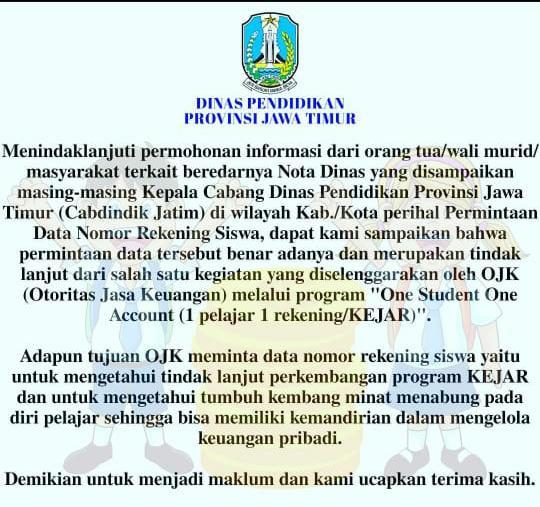 Siswa SMA/SMK Diminta Setor Rekening, Akun IG Dindik Jatim Diserbu