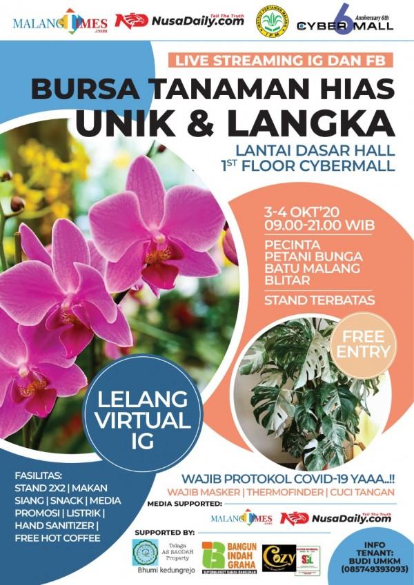 Pamflet pameran dan lelang virtual bunga dan tanaman hias terbesar se Malang Raya