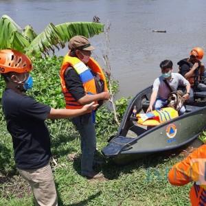 Buaya Muncul di Sungai Brantas Gegerkan Warga, BPBD Kediri Turun Tangan