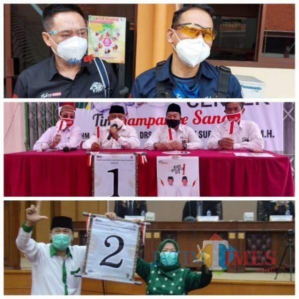 Kolase para kontestan yang akan bertarung dalam Pilkada Kabupaten Malang 2020. (Foto: Tubagus Achmad/MalangTimes)