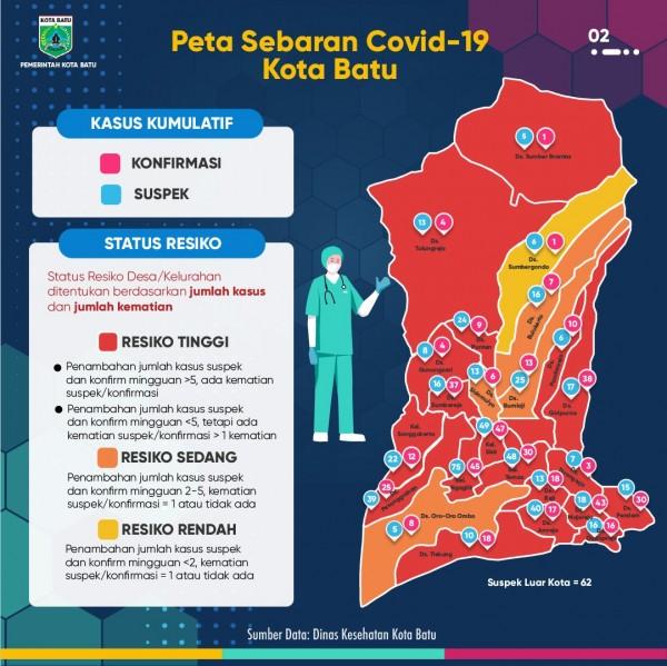 Peta sebaran Covid-19 Kota Batu. (Foto: Pemkot Batu)