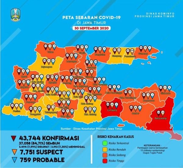 Peta sebaran kasus Covid-19 di Provinsi Jatim periode akhir September 2020 (Foto : Istimewa)
