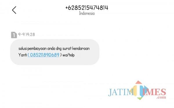 Salah satu pinjol ilegal (tangkapan layar SMS)