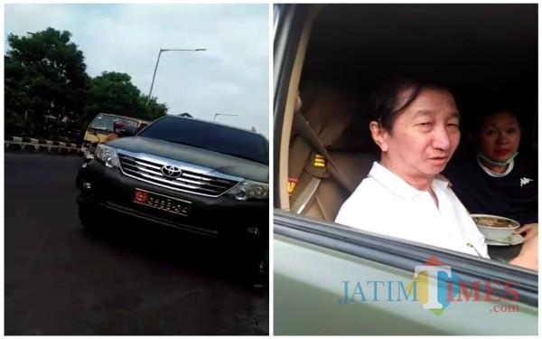 Mobil berpelat TNI dan pengemudinya. (Ist)