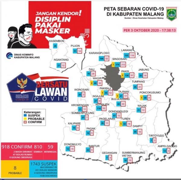 Peta sebaran kasus Covid-19 di Kabupaten Malang periode 3 Oktober 2020 (Foto : Istimewa)