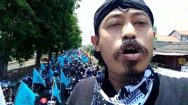Mogok  buruh di Sidoarjo. (Foto: Screenshoot)