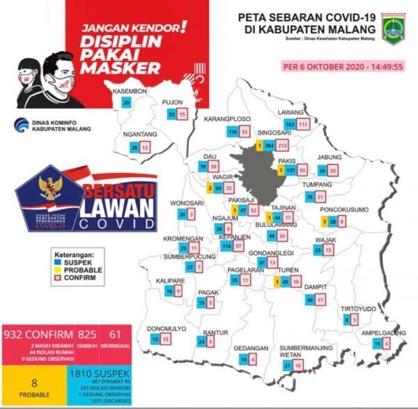 Peta sebaran kasus Covid-19 di Kabupaten Malang periode 6 Oktober 2020 (Foto : Istimewa)