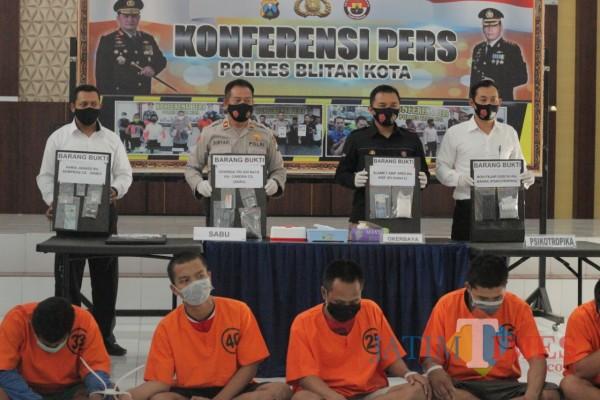 Dua Minggu Operasi, Polres Blitar Kota Ringkus 7 Pengedar Narkoba